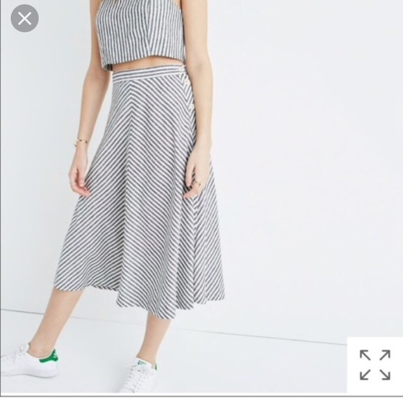 17b43616df89 Madewell Skirts | Sidebutton Midi Skirt In Rhoda Stripe | Poshmark